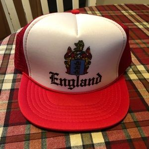 Red Trucker SnapBack Hat England and Crest